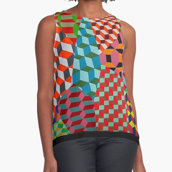 Colored Squares Sleeveless Top