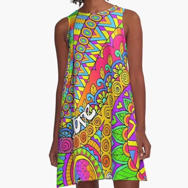 Psychedelic Trippy Colorful Hippy Art A-Line Dress