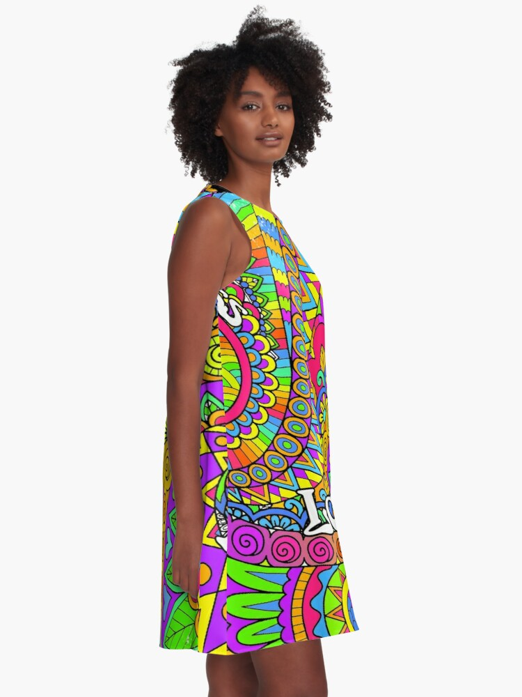 Alternate view of Psychedelic Trippy Colorful Hippy Art A-Line Dress