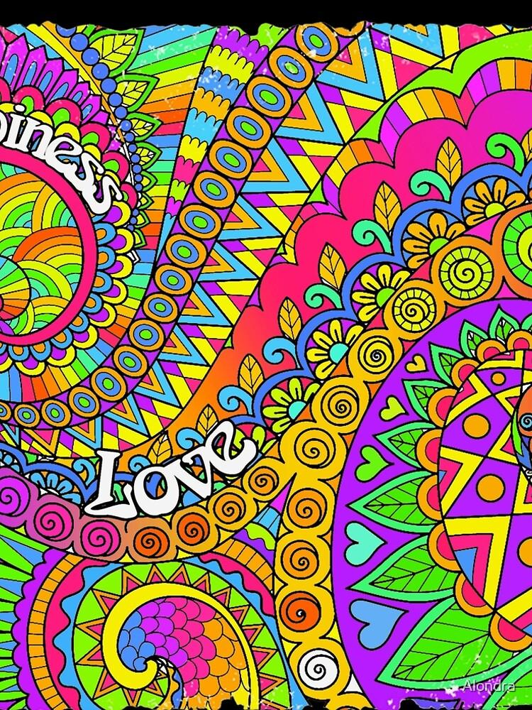Psychedelic Trippy Colorful Hippy Art by Alondra