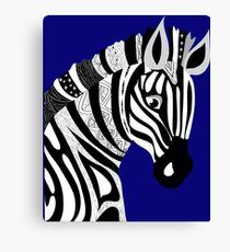 Black and White Hand Drawing Zebra Canvas Print