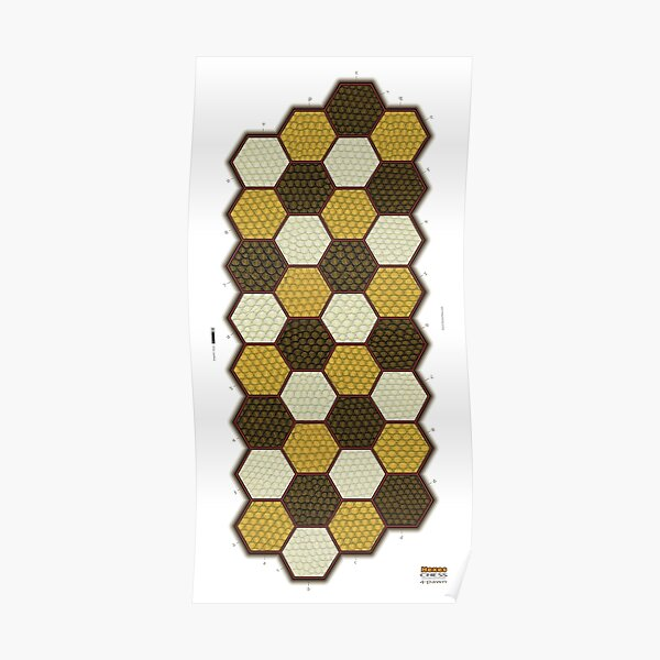 Hexes 4-Pawn Chess Board Poster