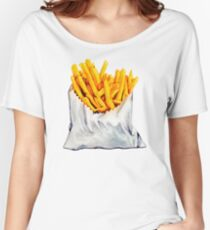 French Fries Pattern Women's Relaxed Fit T-Shirt