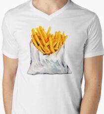 French Fries Pattern Men's V-Neck T-Shirt