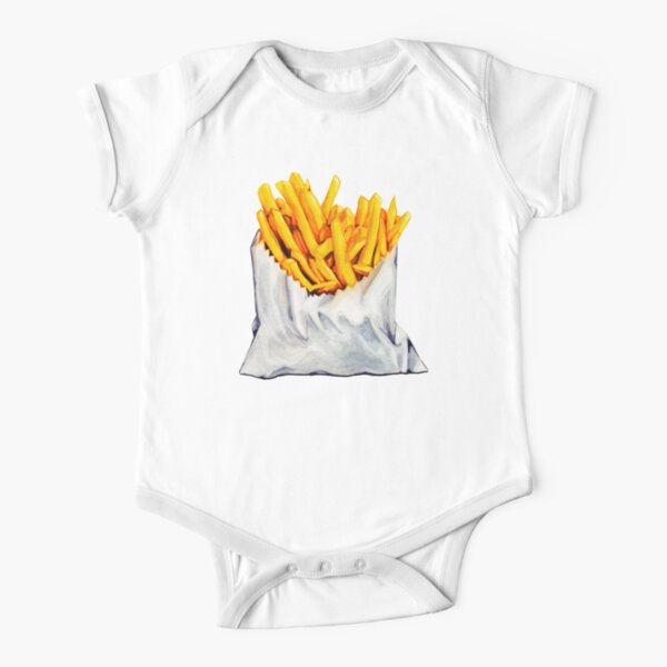 French Fries Pattern Short Sleeve Baby One-Piece