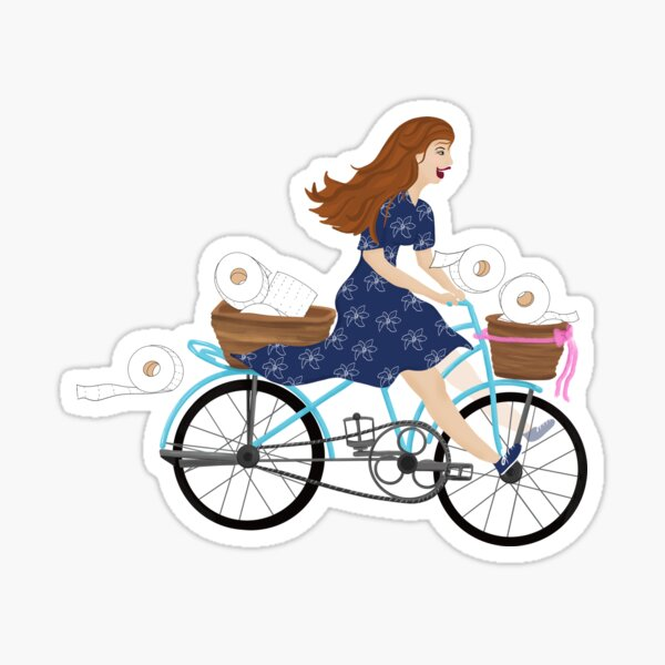 Happy Woman Riding a Bike With Baskets Of Toilet Paper Sticker Sticker