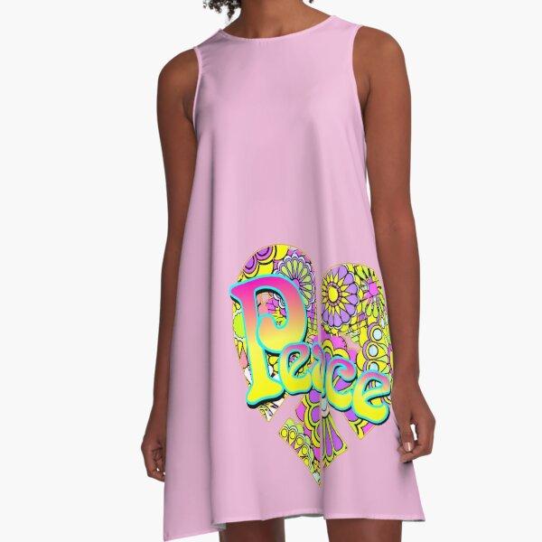 Hippy Peace Flower Power Love Heart A-Line Dress