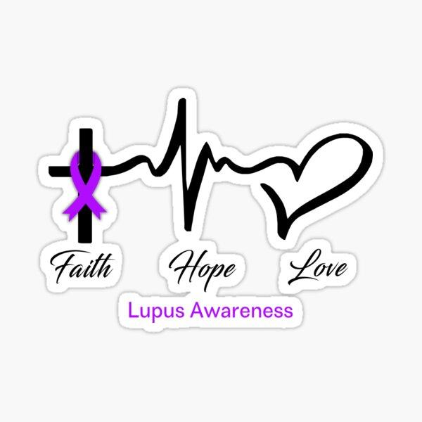Faith Hope Love Lupus Awareness Sticker
