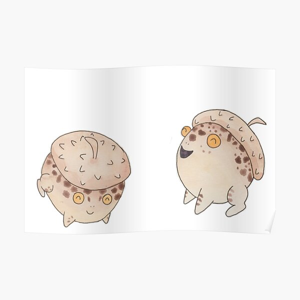 Toads With Acorn Hats Poster