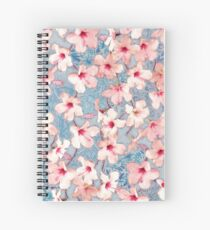 Shabby Chic Hibiscus Patchwork Pattern in Pink & Blue Spiral Notebook