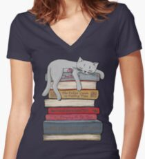How to Chill Like a Cat Women's Fitted V-Neck T-Shirt