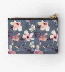 Butterflies and Hibiscus Flowers - a painted pattern Studio Pouch