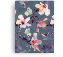 Butterflies and Hibiscus Flowers - a painted pattern Canvas Print