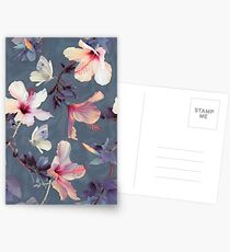 Butterflies and Hibiscus Flowers - a painted pattern Postcards