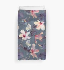 Butterflies and Hibiscus Flowers - a painted pattern Duvet Cover