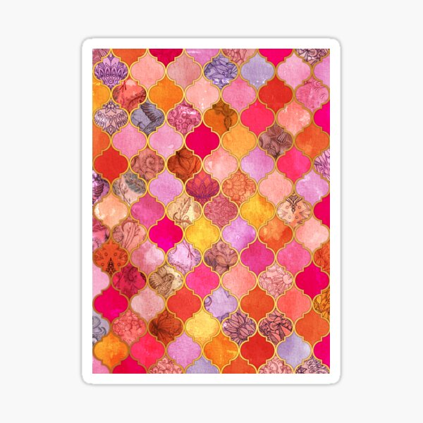 Hot Pink, Gold, Tangerine & Taupe Decorative Moroccan Tile Pattern Sticker