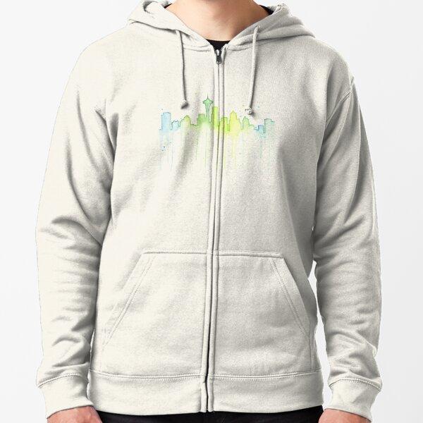 Seattle Skyline Watercolor  Zipped Hoodie