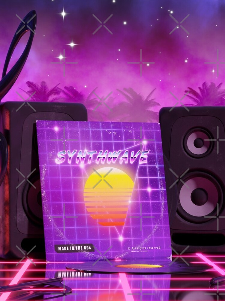 Synthwave music in music land with palm trees by GaiaDC