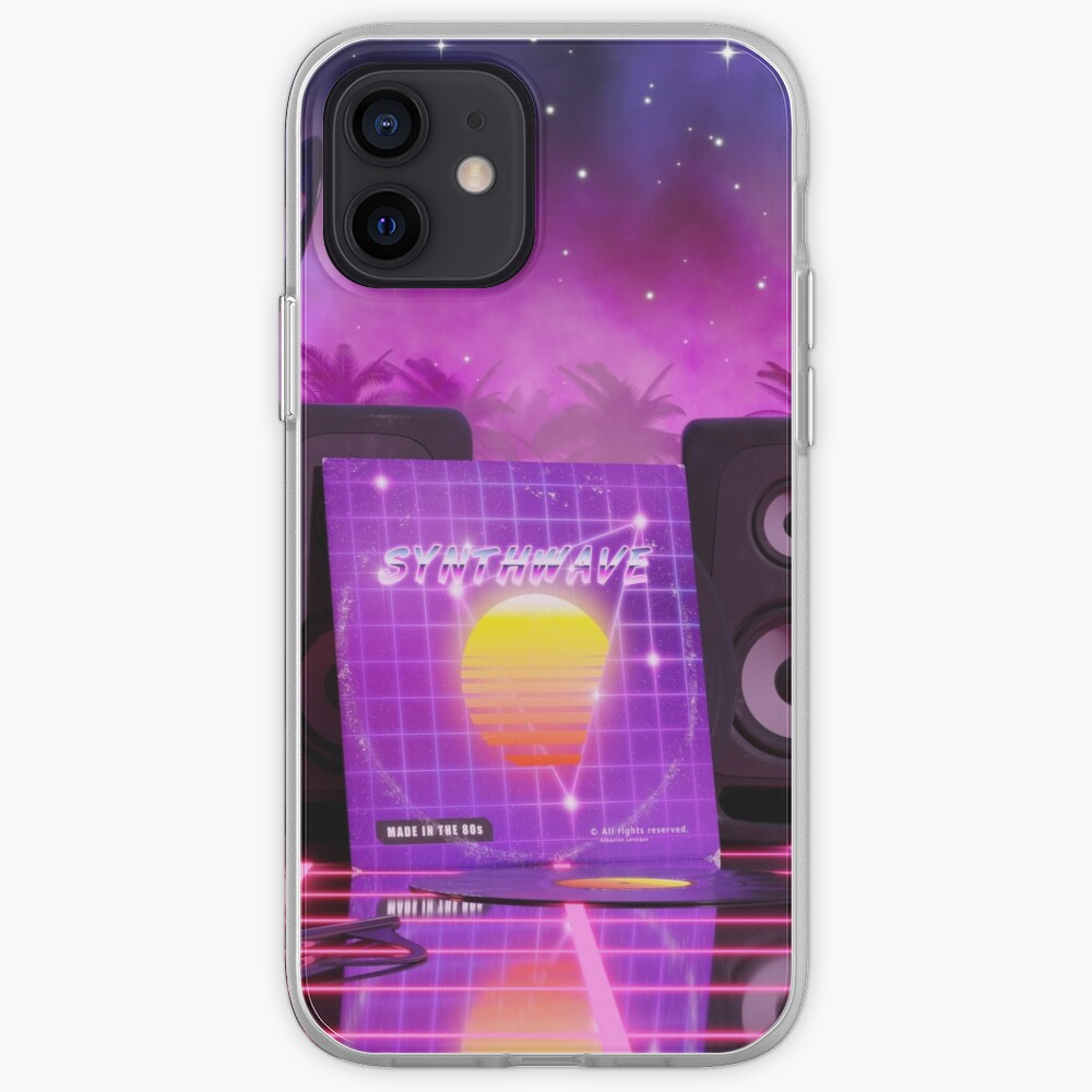 Synthwave music in music land with palm trees iPhone Case