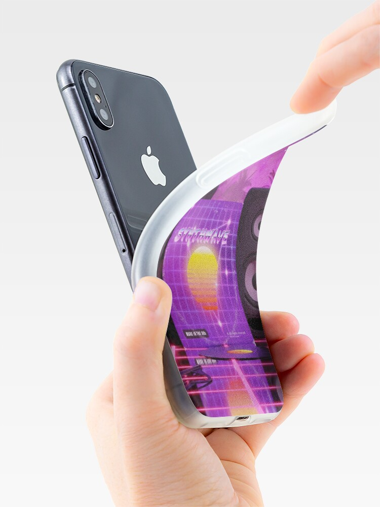 Alternate view of Synthwave music in music land with palm trees iPhone Case