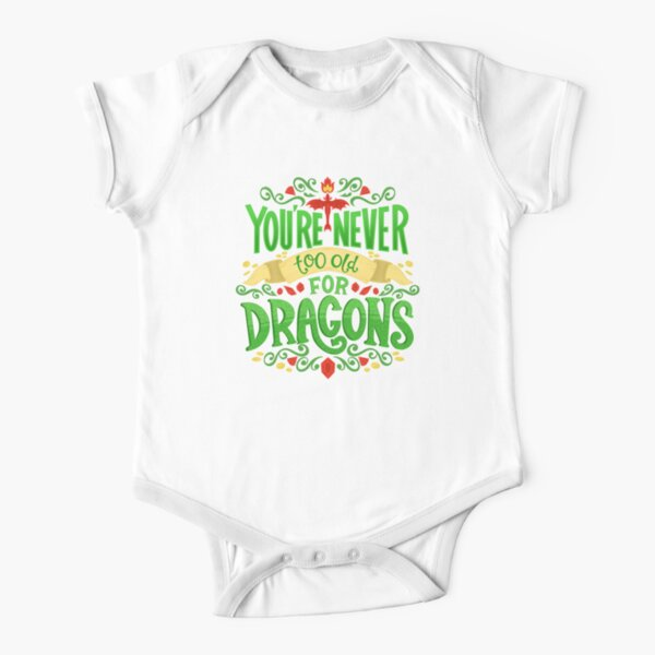 Never Too Old For Dragons Lettering Short Sleeve Baby One-Piece