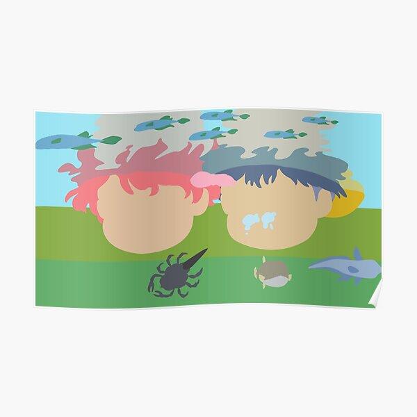 Ponyo and Sosuke Looking Underwater Poster