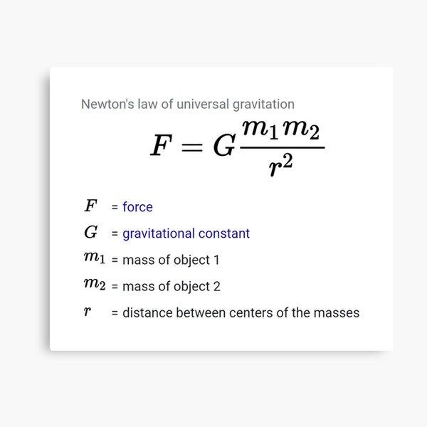 Newton's law of universal gravitation Canvas Print