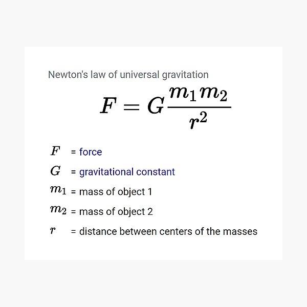 Newton's law of universal gravitation Photographic Print