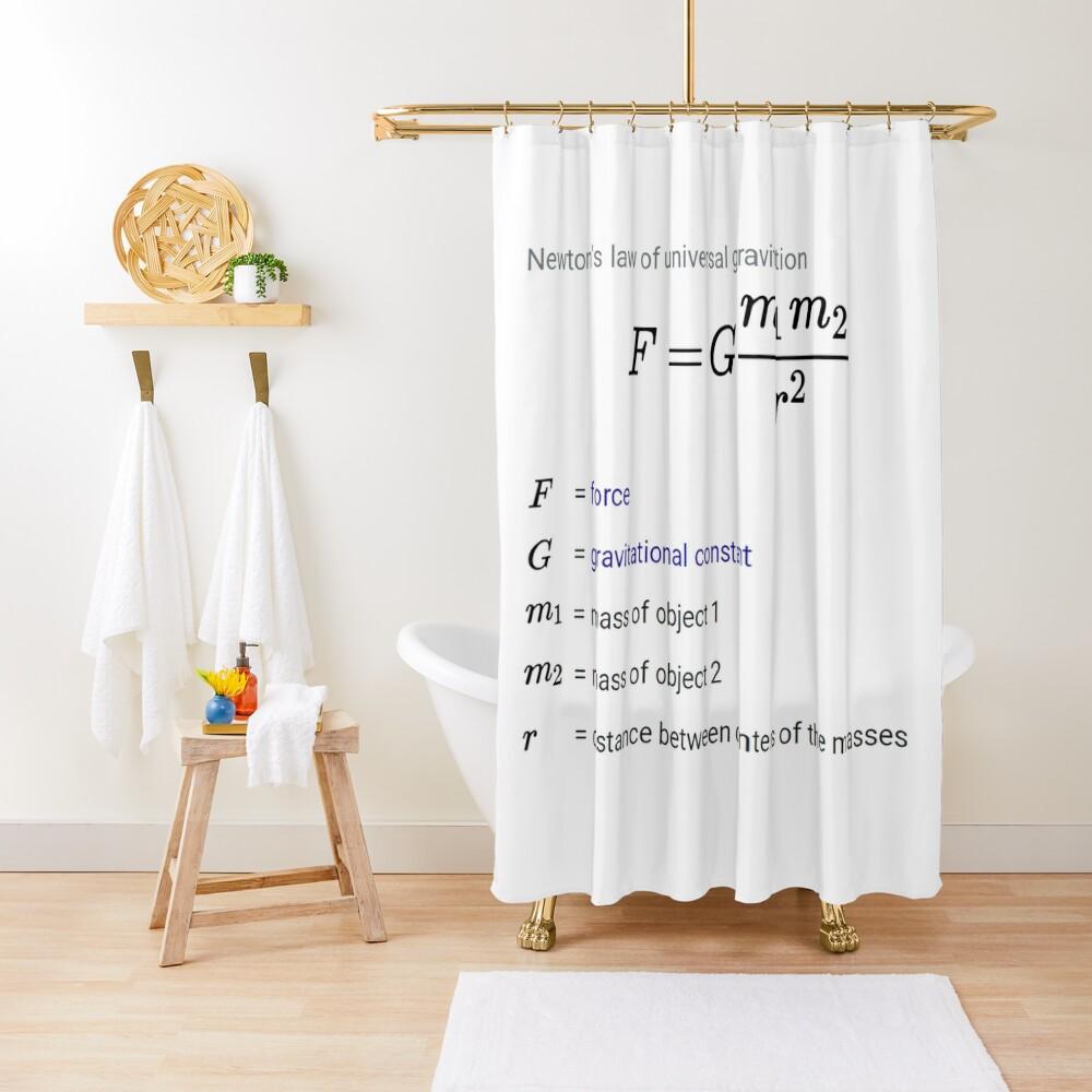 Newton's law of universal gravitation Shower Curtain