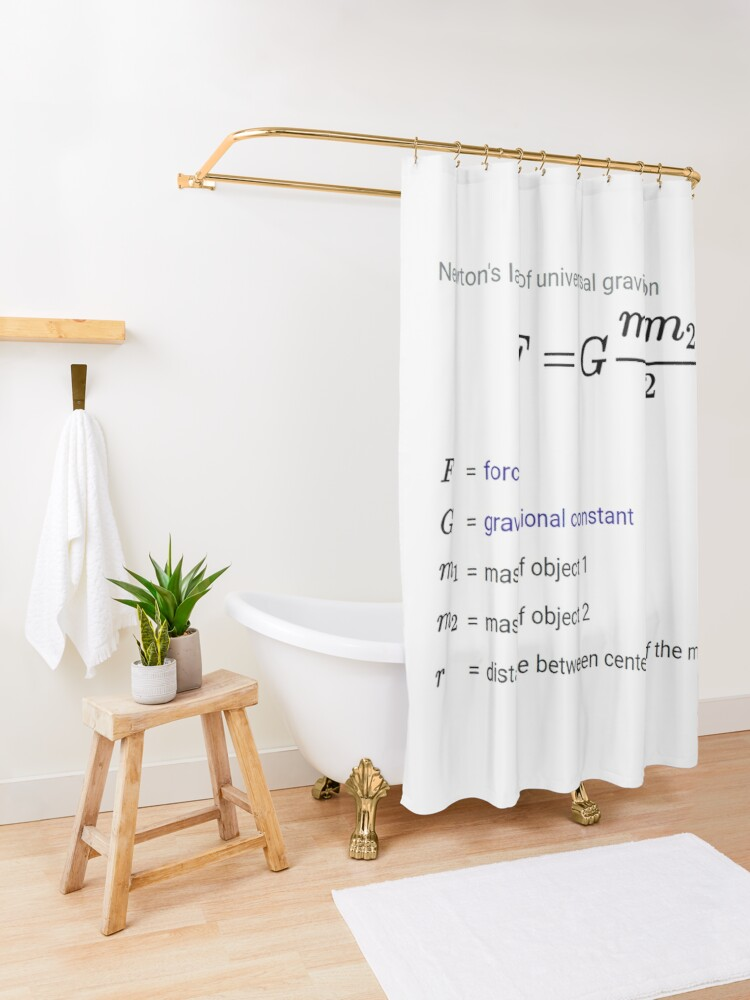 Alternate view of Newton's law of universal gravitation Shower Curtain