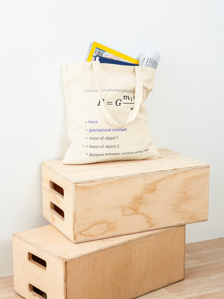 Alternate view of Newton's law of universal gravitation Tote Bag