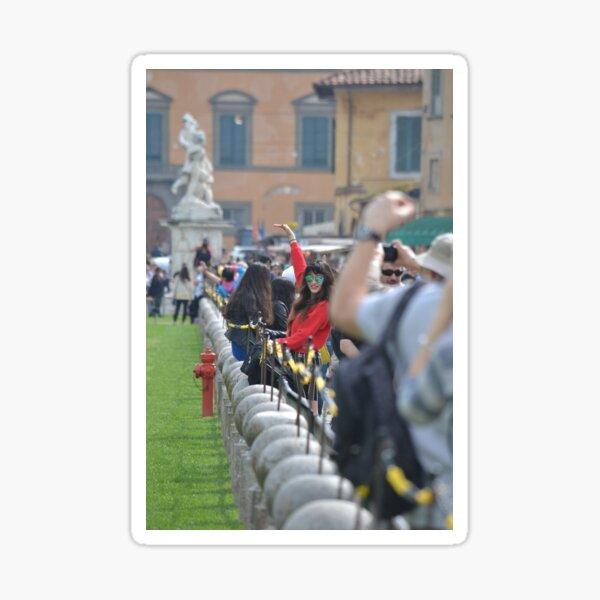 Lady in red: posing in Pisa Sticker