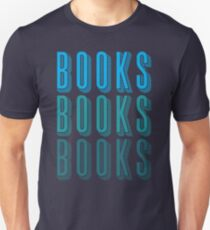 BOOKS BOOKS BOOKS in blue T-Shirt