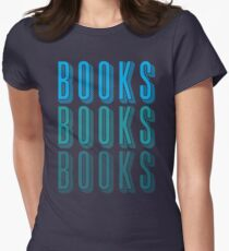 BOOKS BOOKS BOOKS in blue Women's Fitted T-Shirt