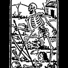 The Death - Old Indian / Asian Tarot Card - black/white by Bela-Manson