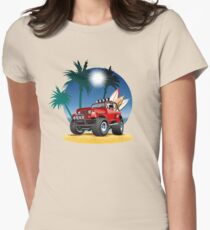 Cartoon Jeep on the beach Womens Fitted T-Shirt