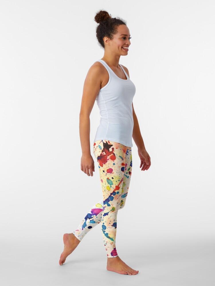Alternate view of Rainbow Paint Spatter Leggings
