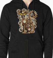 Steampunk-Katzen-Weinlese-Art Hoodie mit Reißverschluss