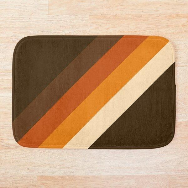 70s Pattern Orange and Brown Diagonal Lines Bath Mat