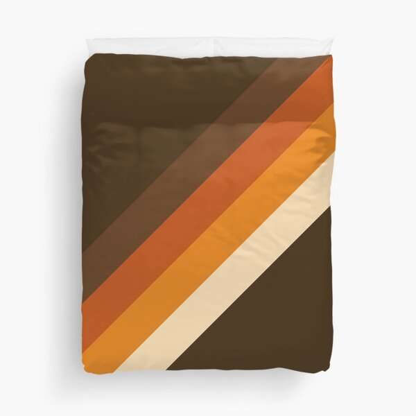 70s Pattern Orange and Brown Diagonal Lines Duvet Cover