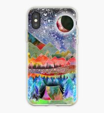 Camping under the moon iPhone Case