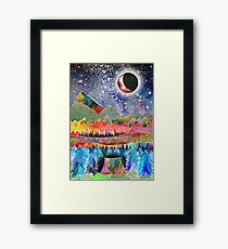 Camping under the moon Framed Print