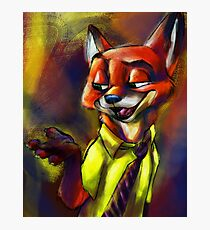 """""""It's Called A Hustle, Sweetheart!"""" (Nick Wilde Zootopia Painted Portrait) Photographic Print"""