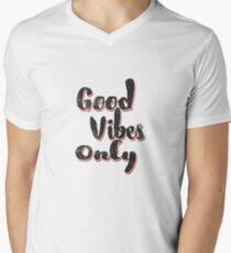 Nur gute Schwingungen T-Shirt mit V-Ausschnitt