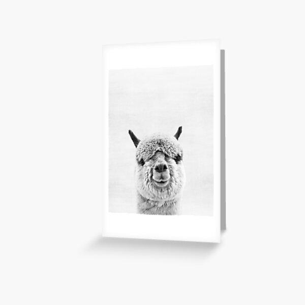 Greeting Card Funny Alpaca Birthday Card Watercolor Print Yellow Farm Animal Illustration Animal Theme Stationery