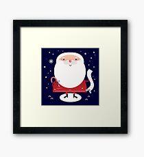 Cute Santa with note Vector cartoon Framed Print
