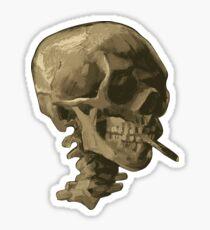 Schädel eines Skeletts mit brennender Zigarette Sticker