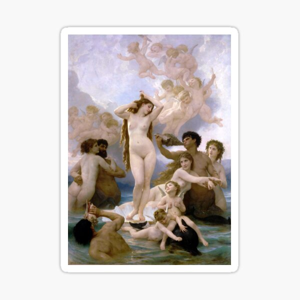The Birth of Venus (Bouguereau) Glossy Sticker