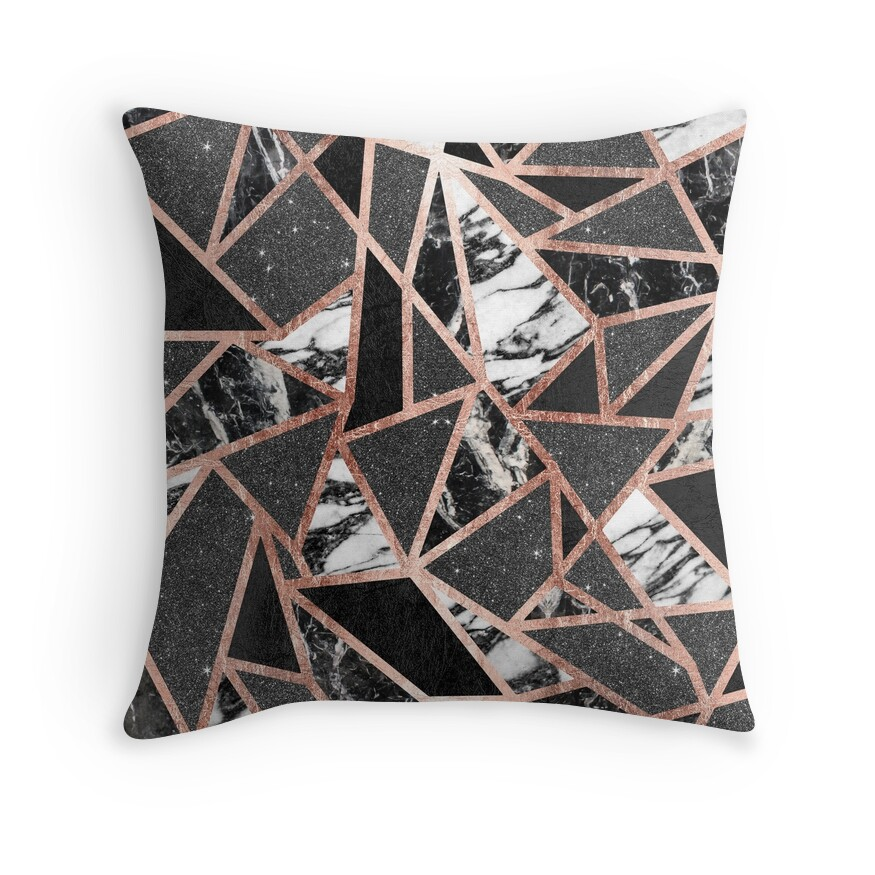 "16 Rose Gold And Copper Details For Stylish Interior Decor: ""Modern Rose Gold Glitter Marble Geometric Triangle"" Throw"