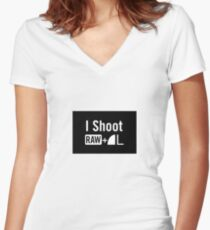 I shoot raw Women's Fitted V-Neck T-Shirt
